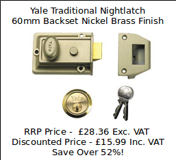 Sales Special Offer - Yale Traditional Nightlatch 60mm Backset Nickel Brass Finish